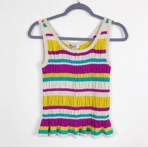 Moschino • Stripe Sleeveless Peplum Knit Top